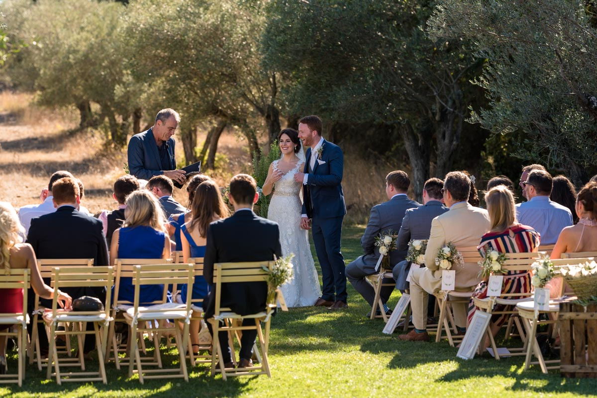 photograph of matt and rebeccas wedding in the olive garden at castell d'emporda in Spain