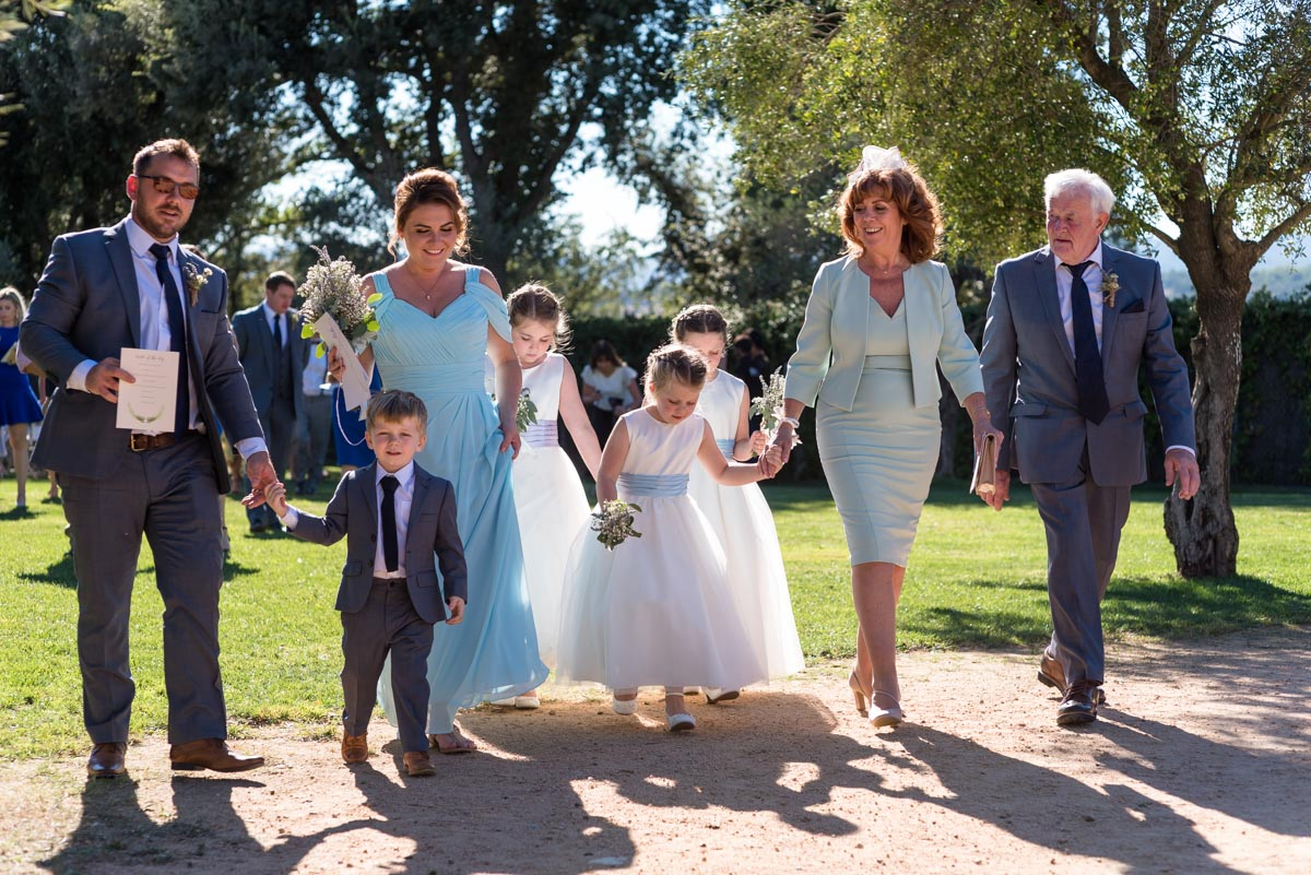 family wedding photograph at castell d'emporda wedding in spain