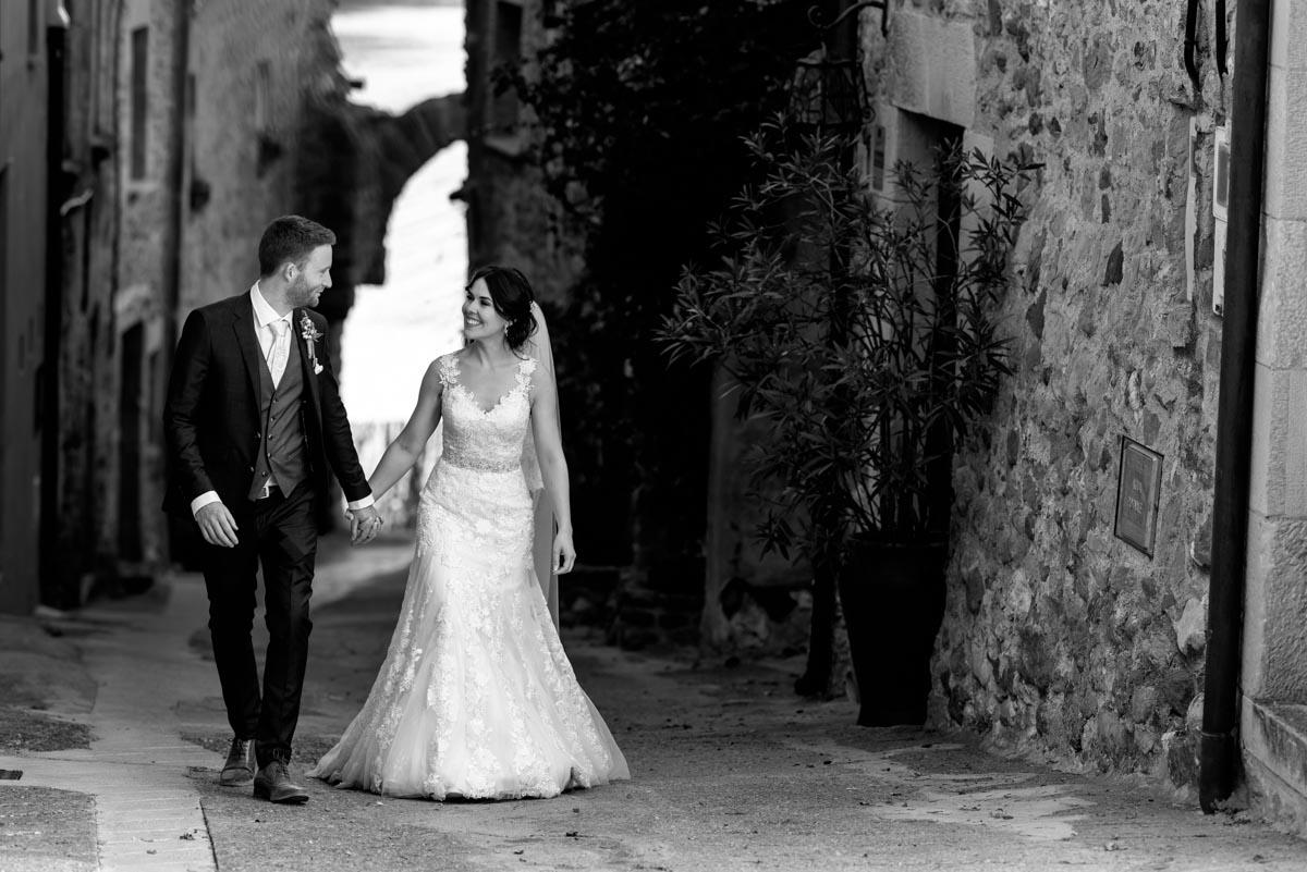 photograph of matt and rebecca at castell d'emporda wedding venue