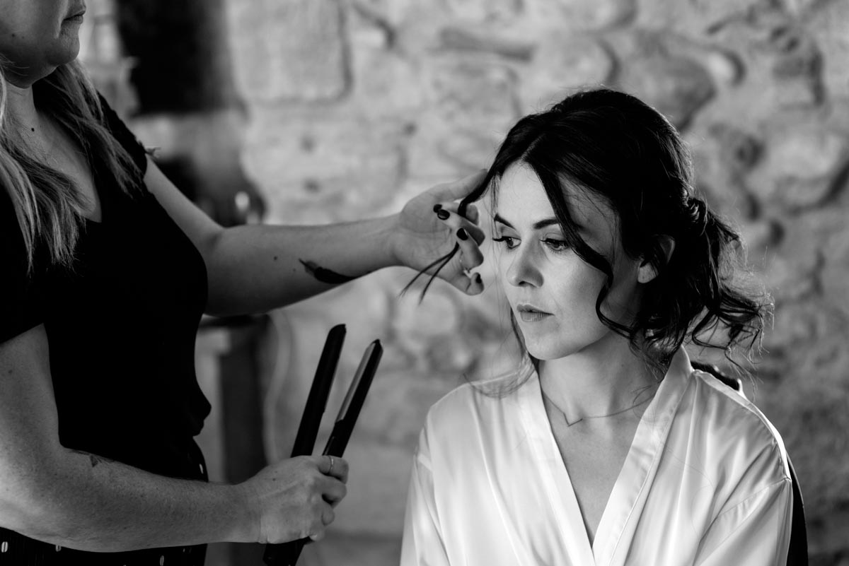 Photograph of Rebecca getting ready at castell d'emporda before her wedding