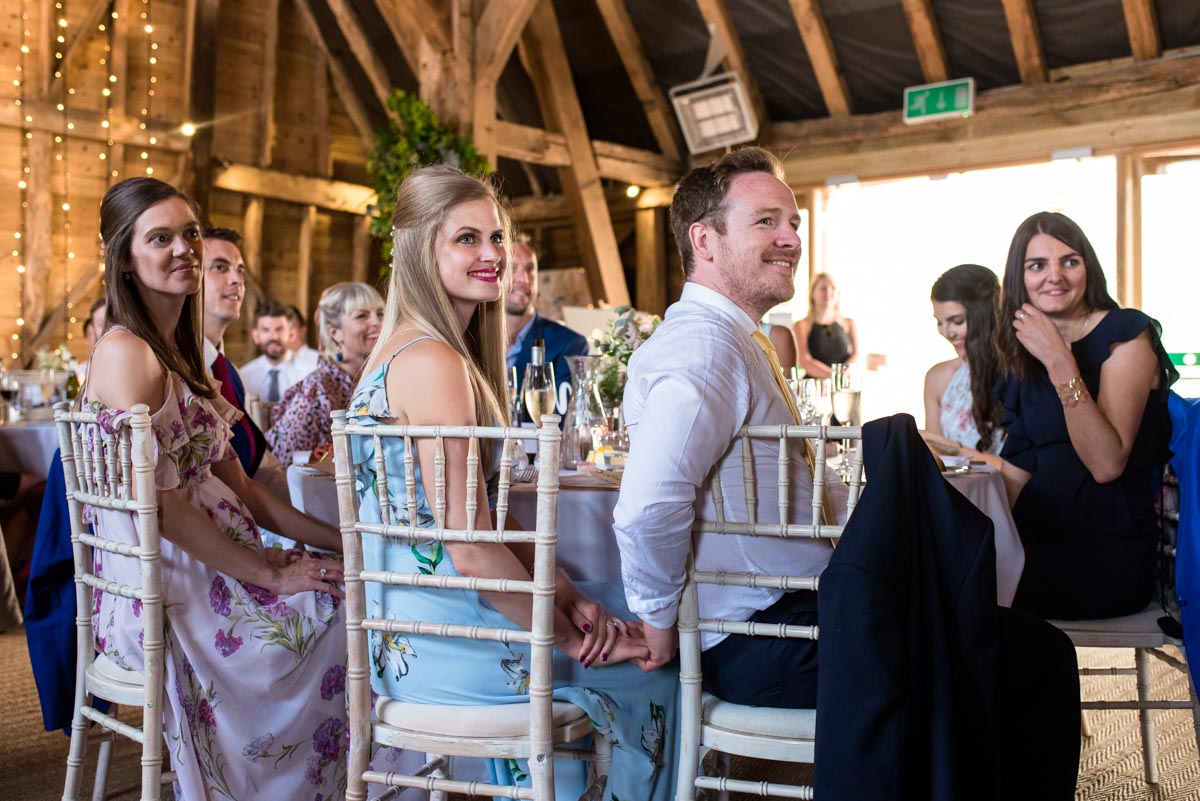 Craig & Sarah wedding speeches at Odo's Barn in Kent