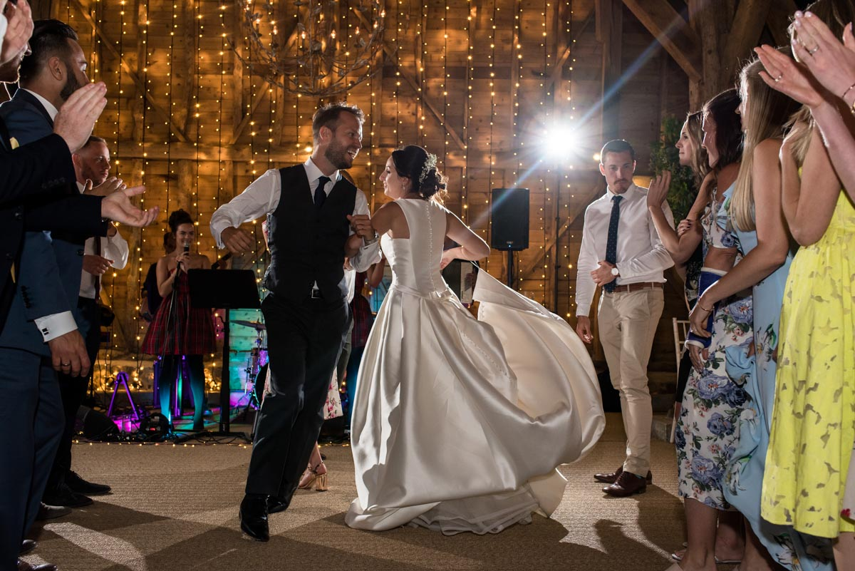 odos' Barn wedding photography, Sarah and Craigs first dance
