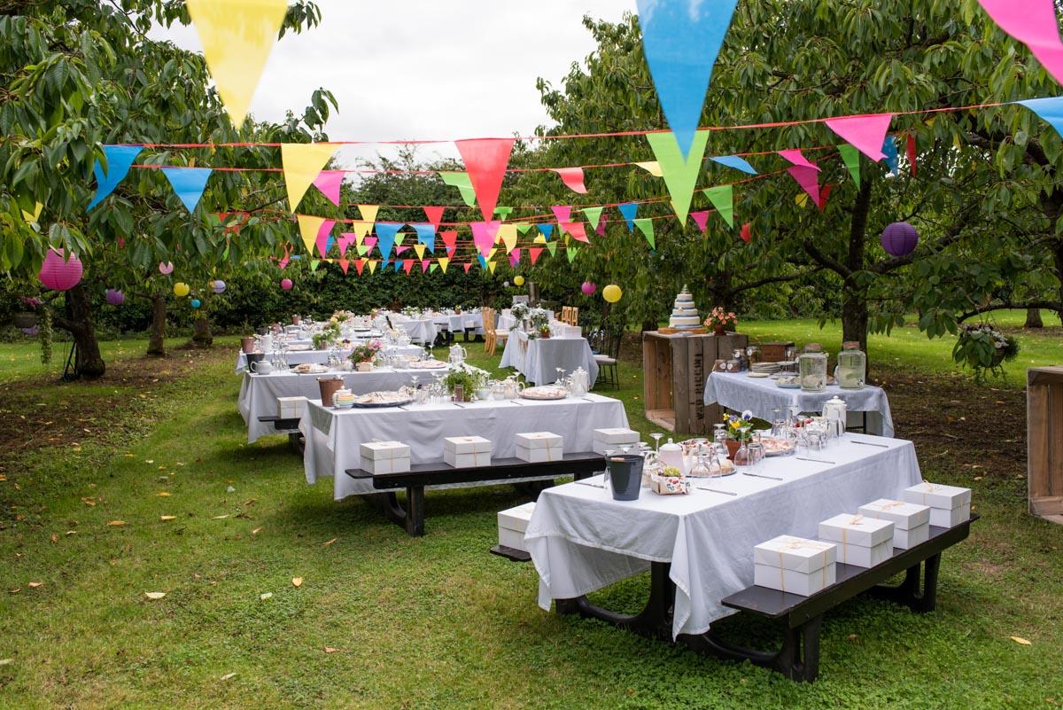 Outdoor wedding reception afternoon tea. Canterbury wedding photography