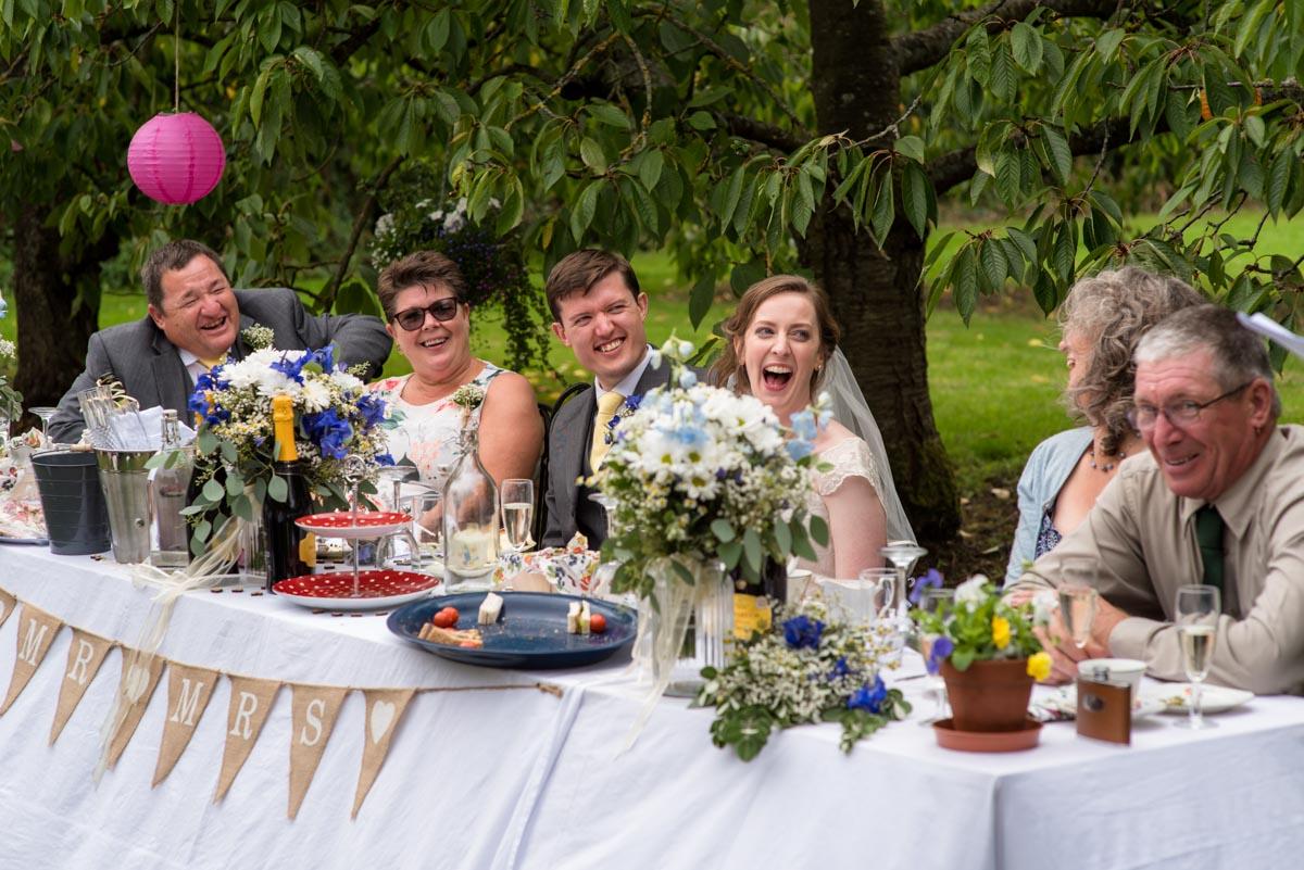 Outdoor afternoon tea wedding reception in Kent