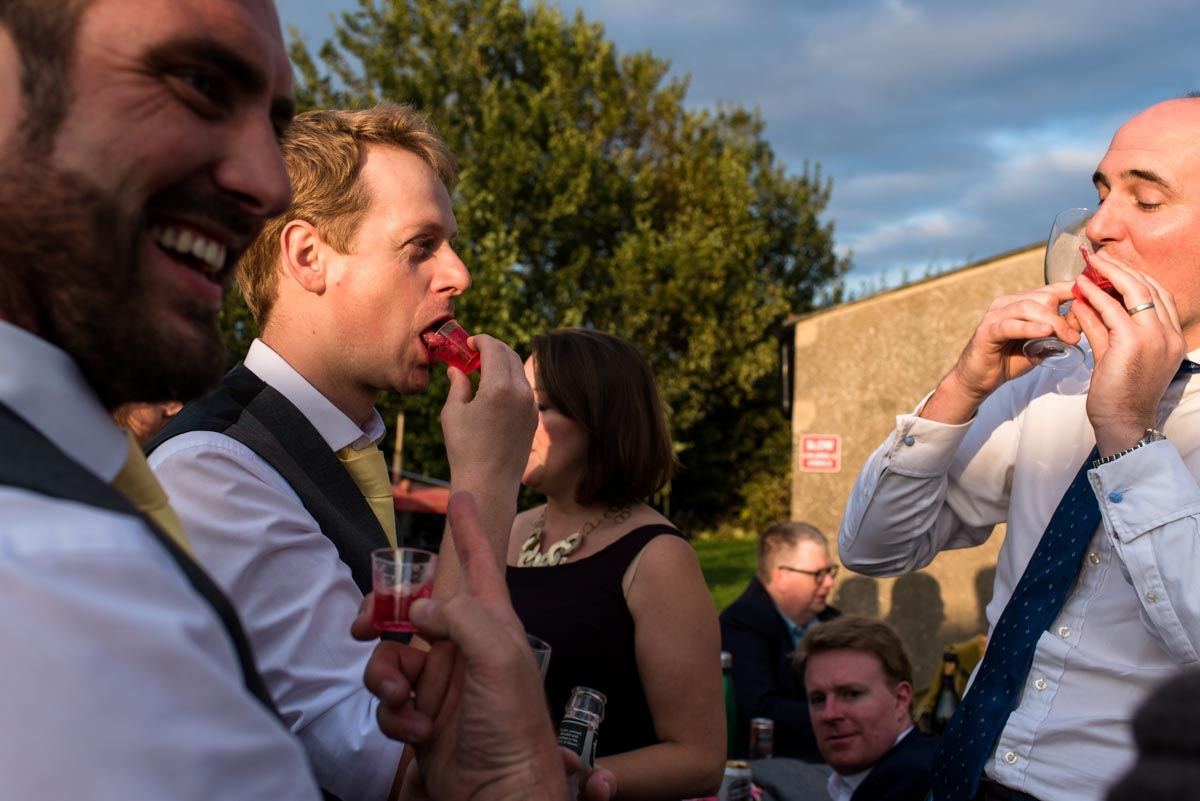 Vodka jelly time at Hannah and Matthews Kent outdoor wedding