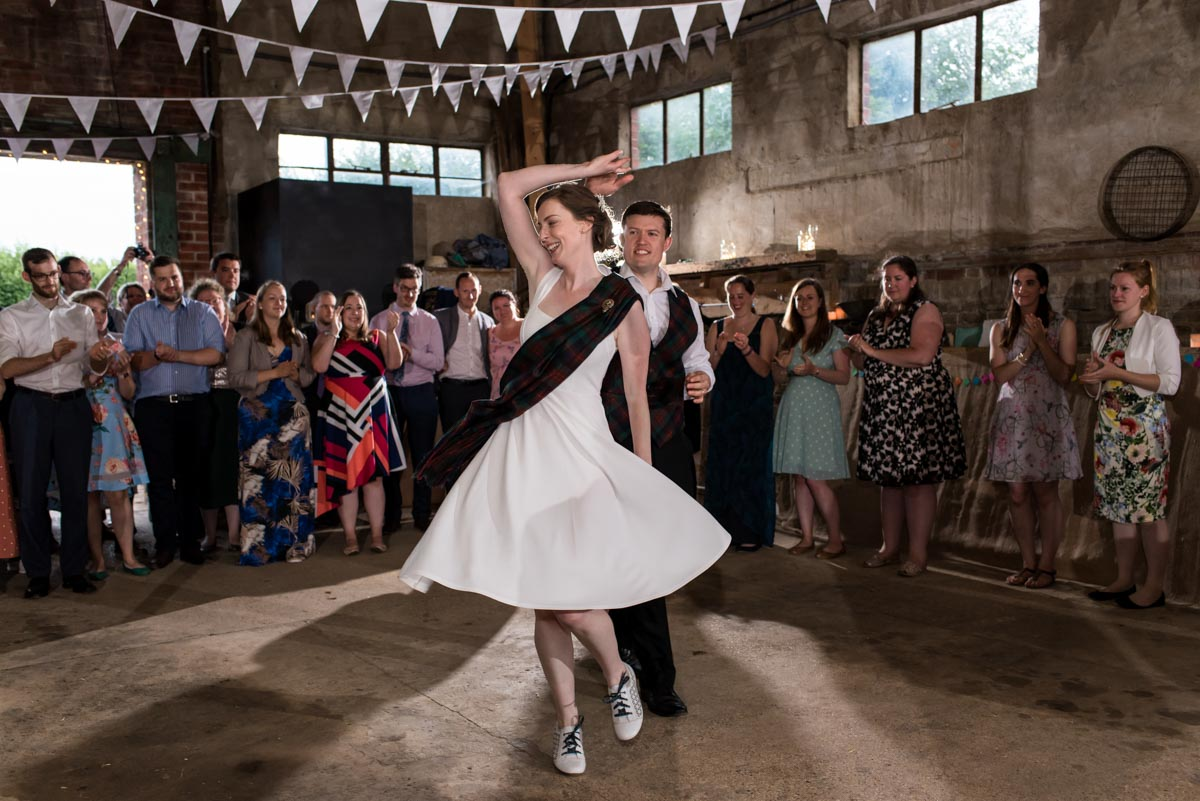 Hannah and Matthew photographed at their Kent wedding barn dance