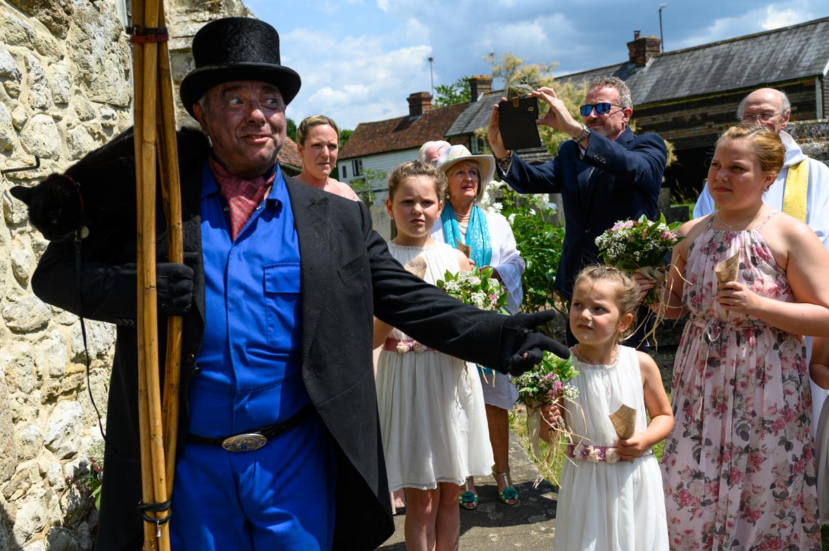 Chimney sweep at emma and Chris's wedding in Smarden Church Kent
