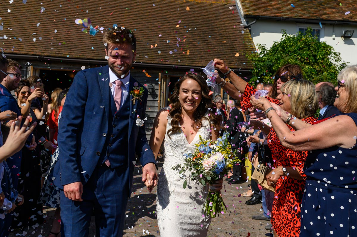 Kailey and Robs confetti photograph at The Ferry House Inn, Isle of Sheppey