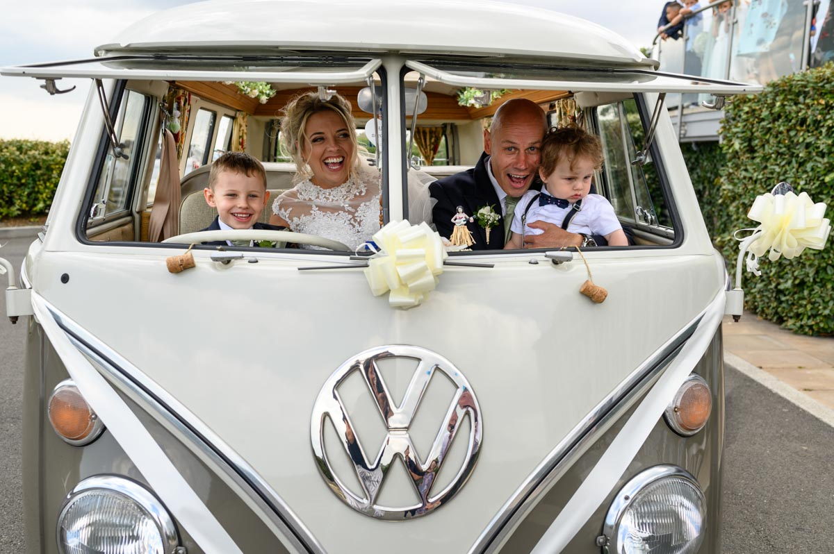 Keeley and family in VW camper van at Hythe Imperial wedding