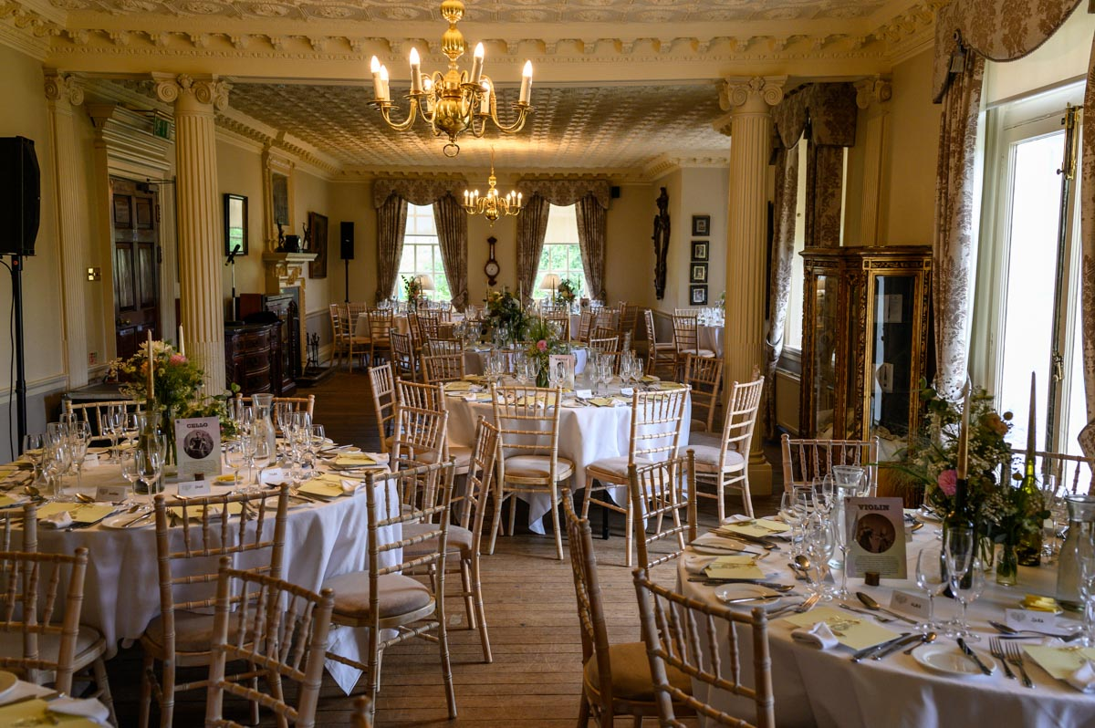 Chilston park wedding photography, the wedding breakfast room