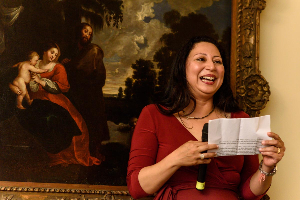 Vinitas sister delivers wedding speech at Chilston Park in Kent