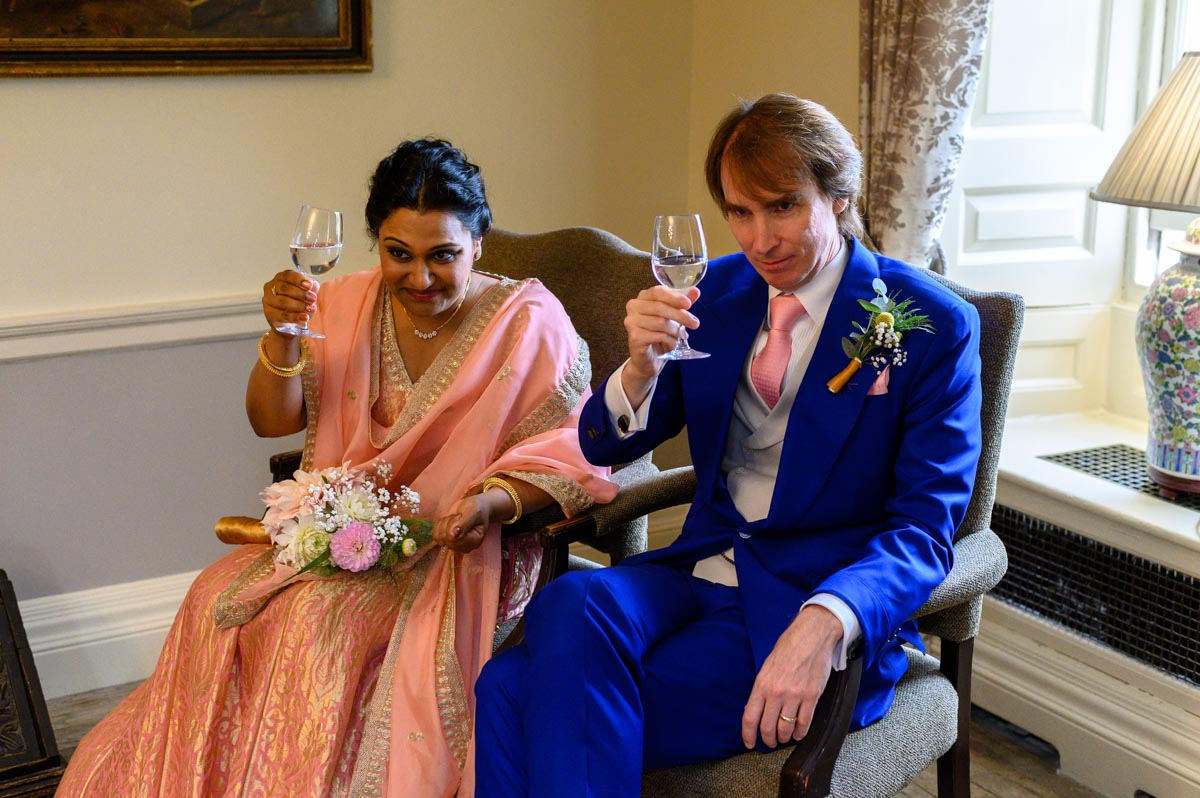 Photograph of Vinita and Doug after their Chilston park wedding ceremony