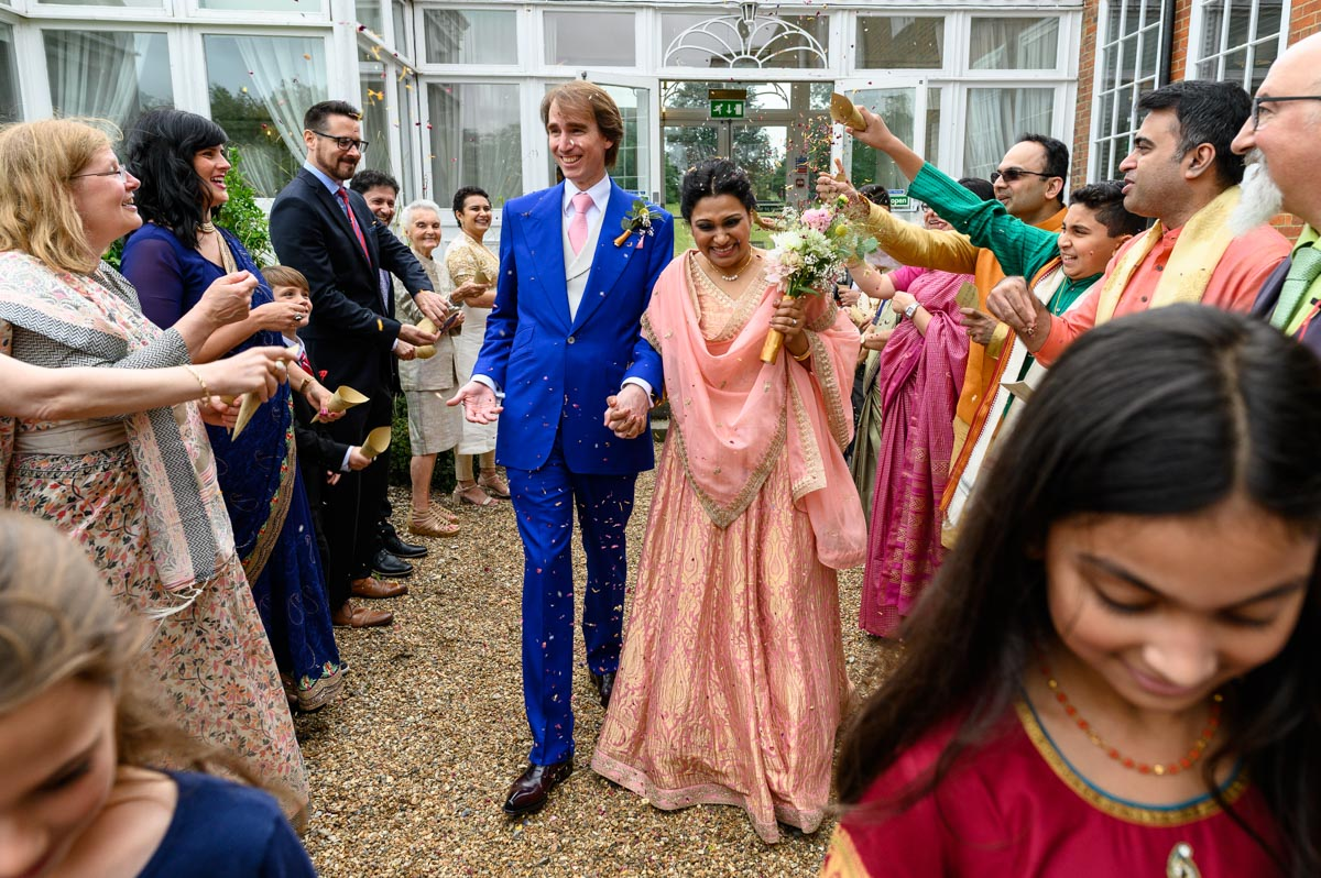 Confetti throw at Vinita and Dougs weding at Chilston Park in Kent