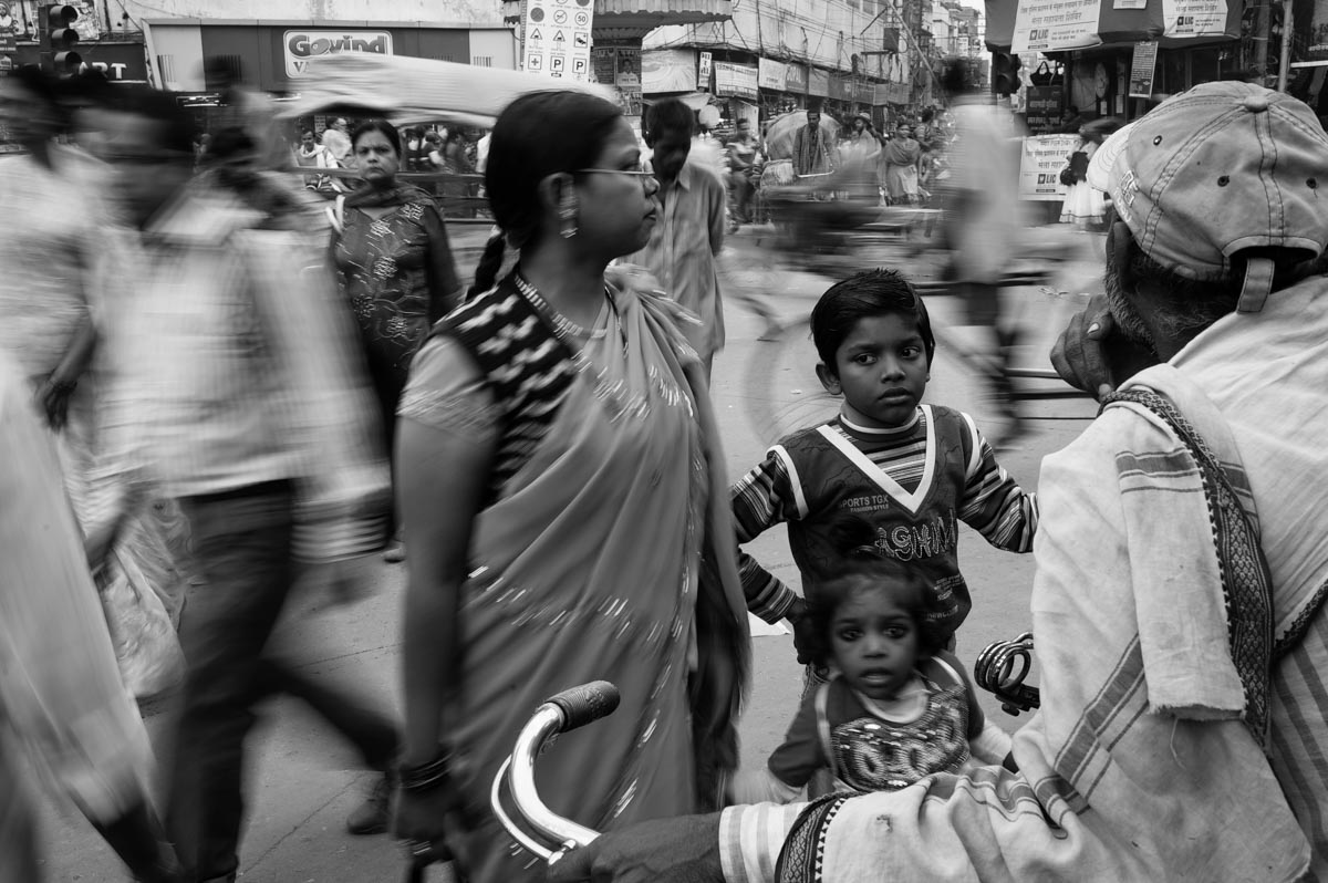 Black & white photo of people on streets of varanasi, India
