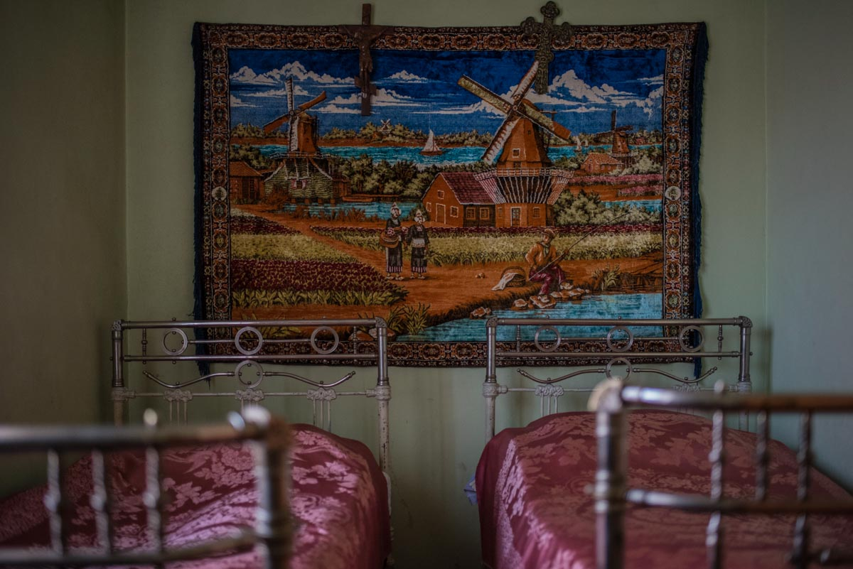 Photograph of two beds in a home in Gyumri, Armenia